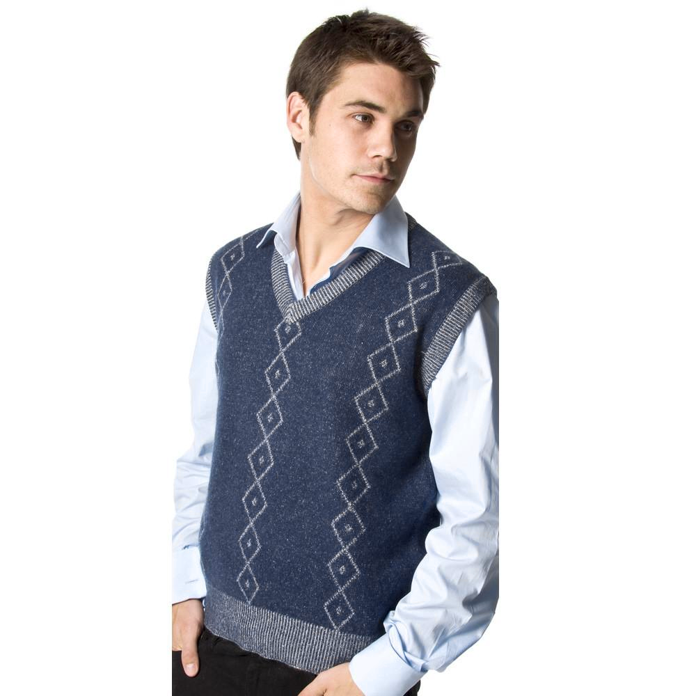 men's cashmere slipover with diamond pattern mariner blue