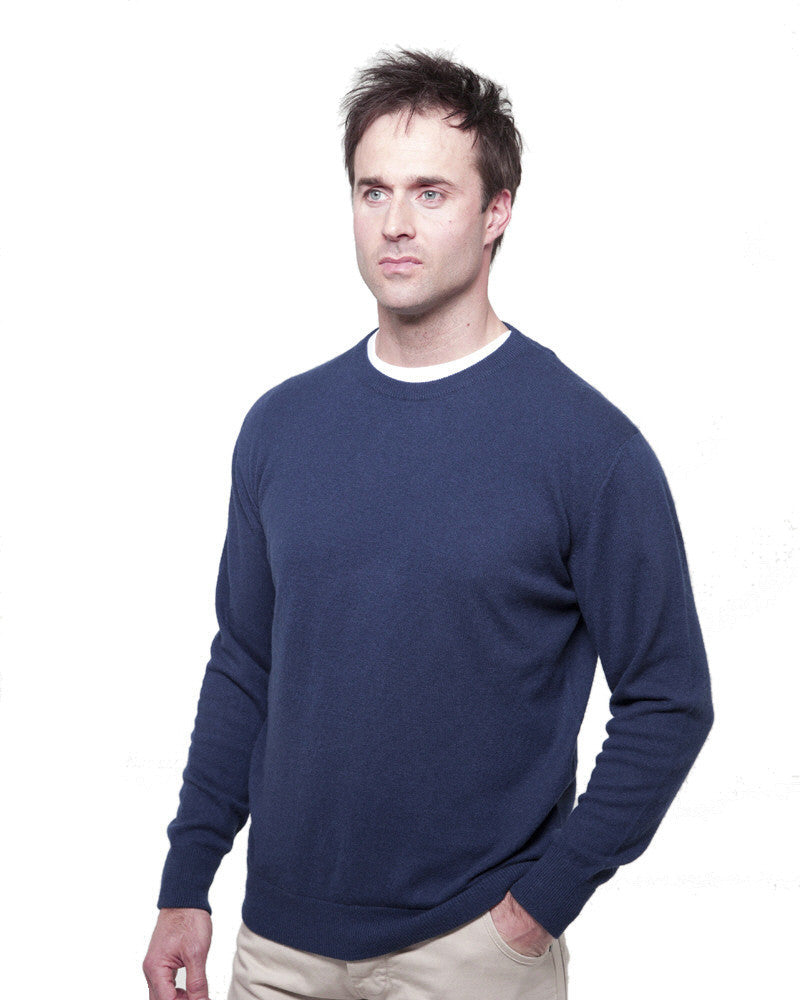 men's crew neck cashmere sweaters blue