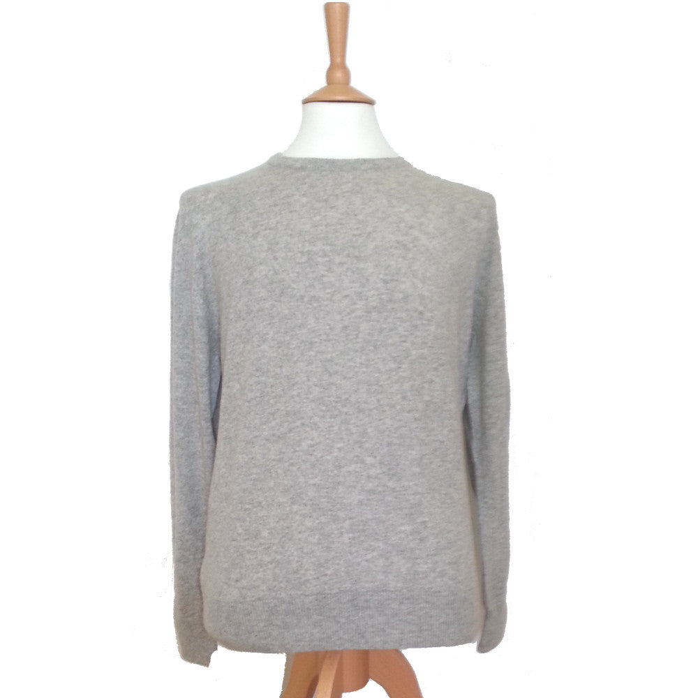men's crew neck cashmere sweaters silver grey