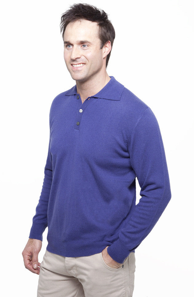 Pure Cashmere Polo Shirt Crocus Blue