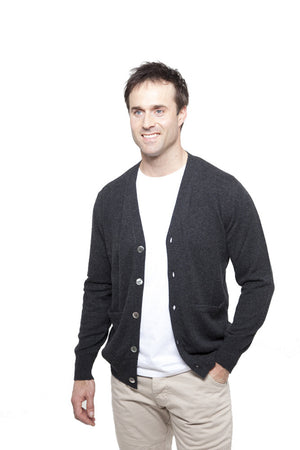 men's v neck cashmere cardigan charcoal
