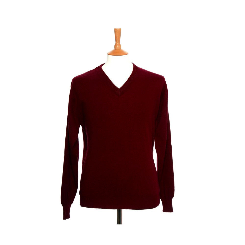 men's v neck cashmere jumper chilli