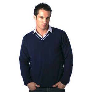 Men's Cashmere V Neck Jumper With Stripe Mariner Blue and Baby Blue