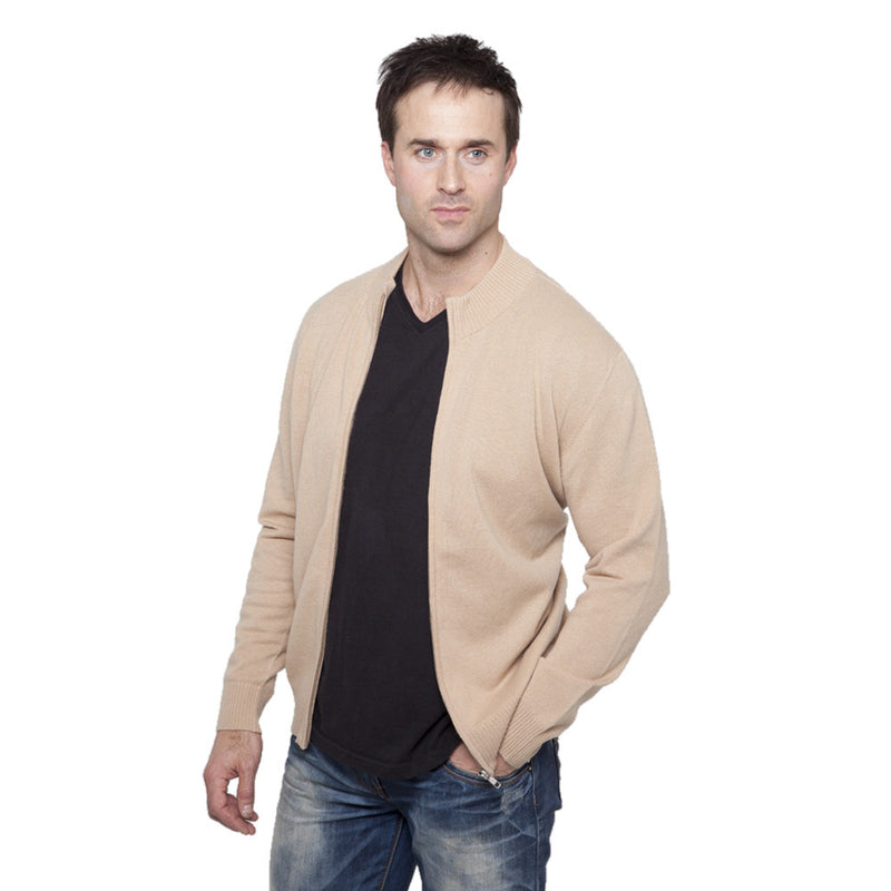men's zip up cashmere cardigan camel
