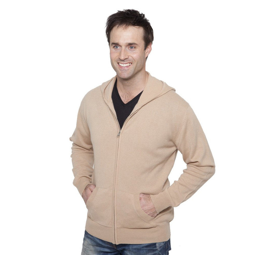 men's cashmere hoodies camel
