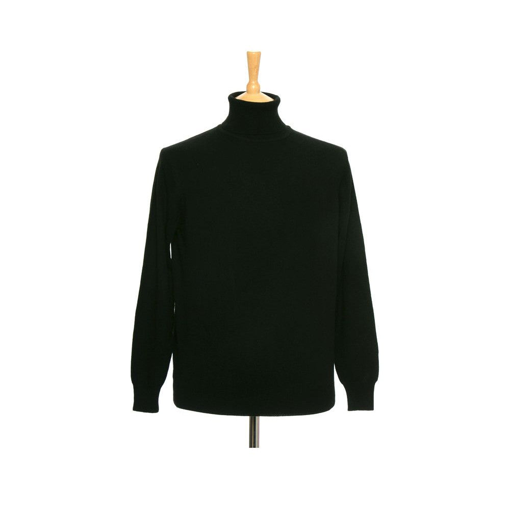 men's cashmere polo neck jumper black