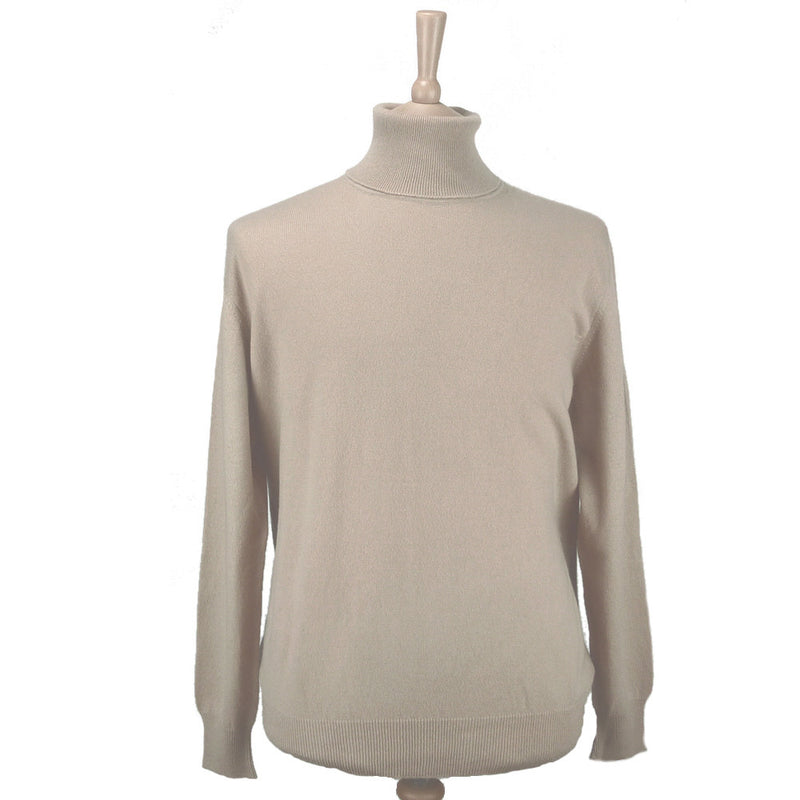 men's cashmere polo neck jumper cocoa