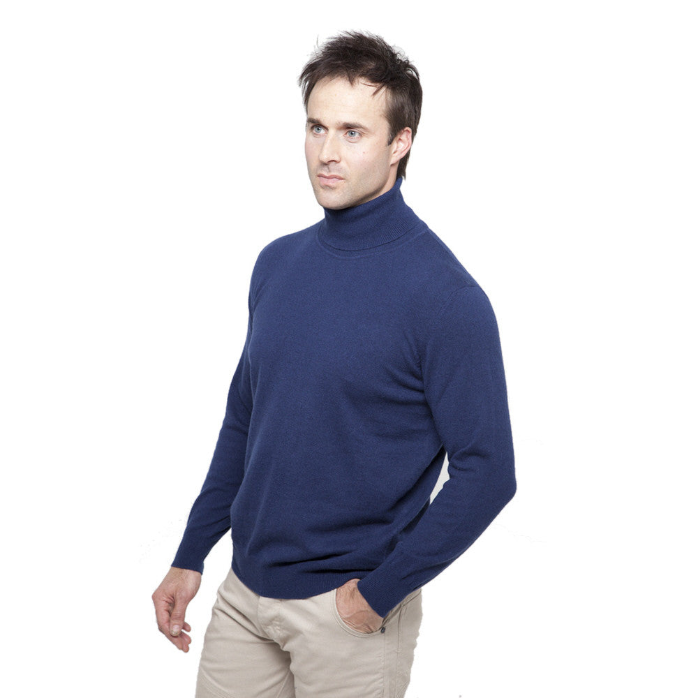 men's cashmere polo neck jumper mariner blue
