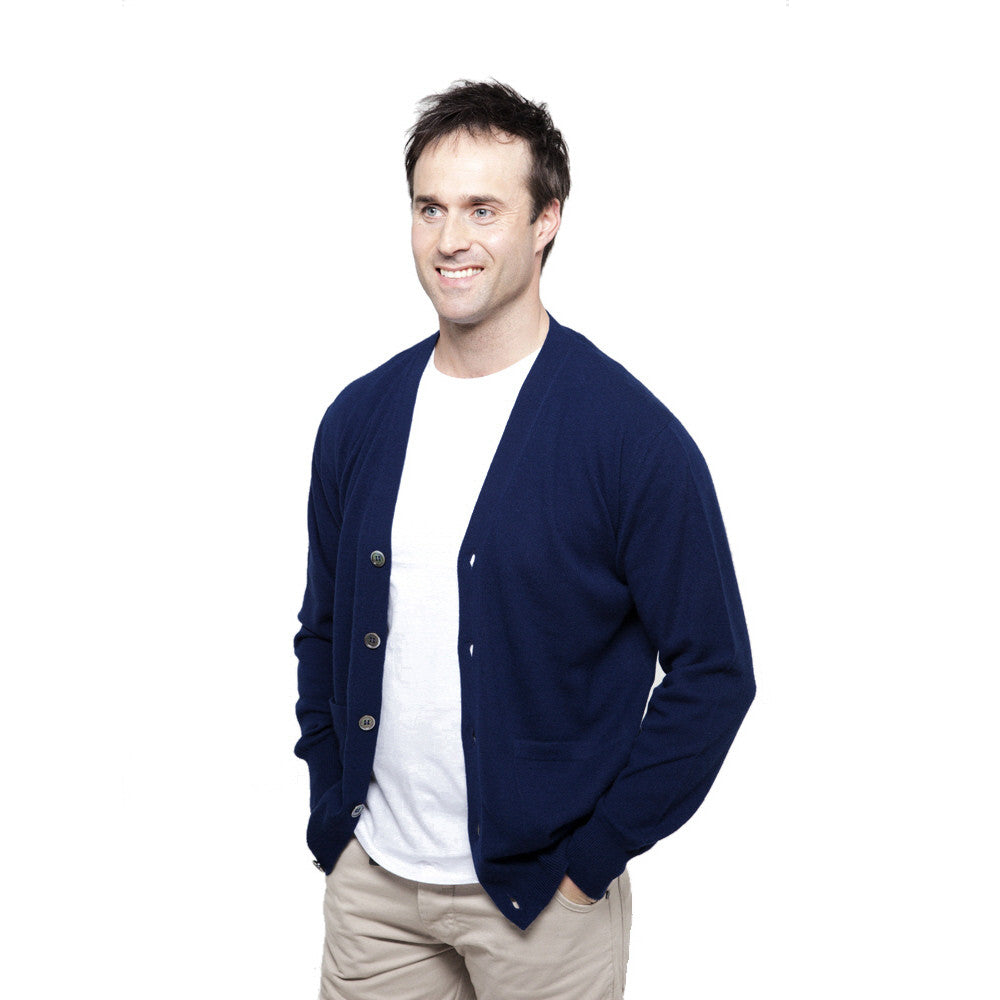 men's v neck cashmere cardigan navy blue