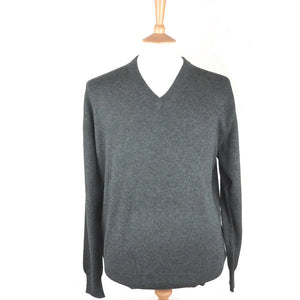 men's v neck cashmere jumper charcoal