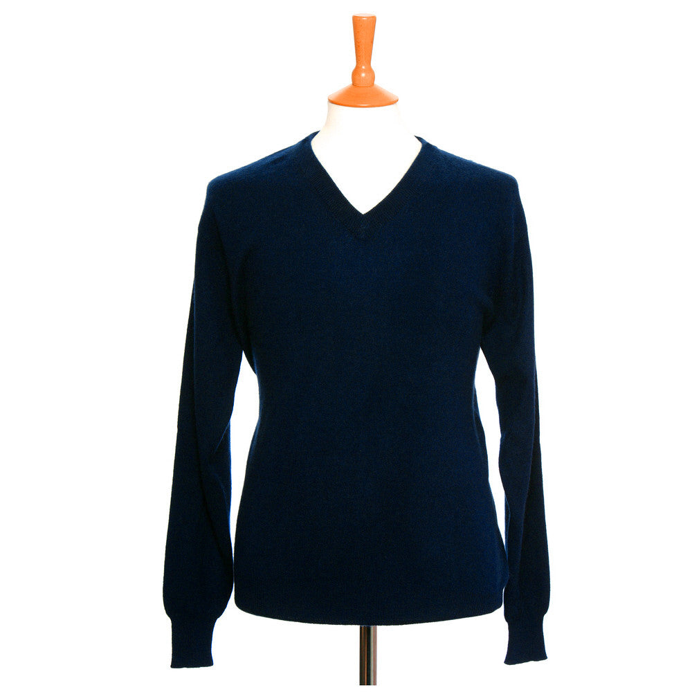 men's v neck cashmere jumper mariner blue