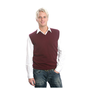 men's v neck cashmere slipover plum