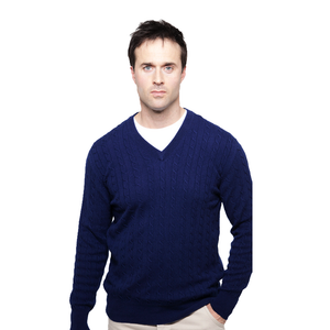 mens cashmere cable knit jumpers navy blue
