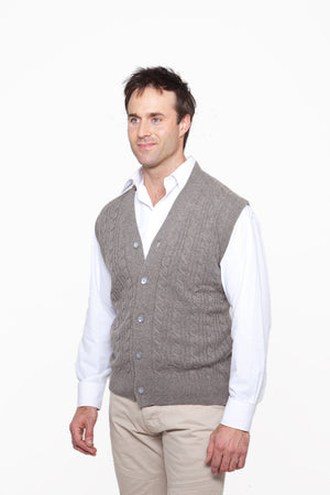 mens' sleeveless cable knit cashmere cardigan toast