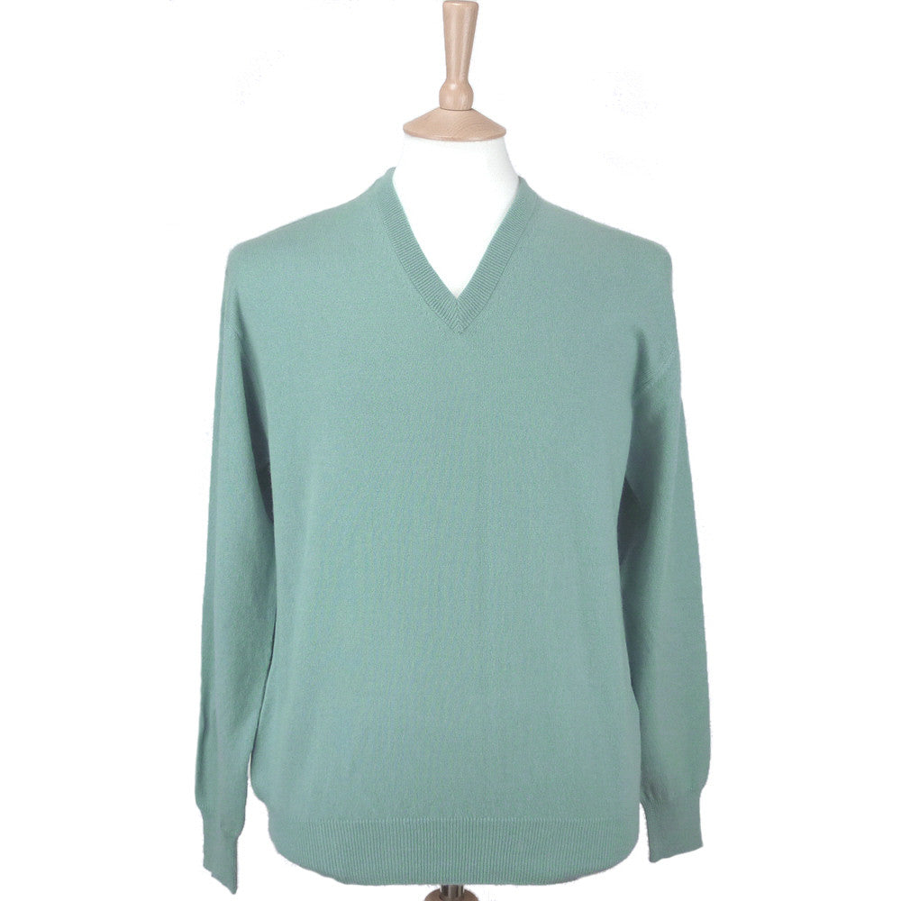 men's v neck cashmere jumper duck egg