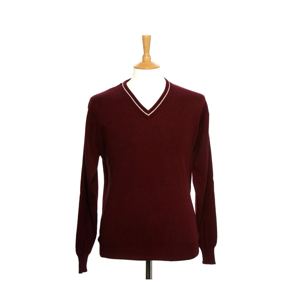 Men's Cashmere V Neck Jumper With Stripe Plum and Baby Pink