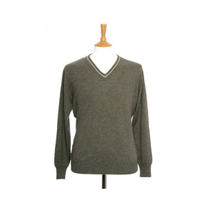 Men's Cashmere V Neck Jumper With Stripe Toast and Oatmeal