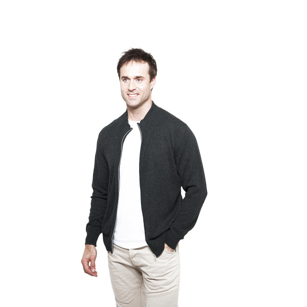 men's zip up cashmere cardigan charcoal