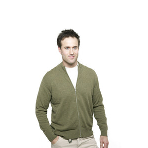 men's zip up cashmere cardigan rural green
