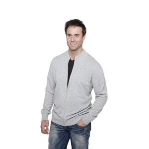 men's zip up cashmere cardigan silver grey