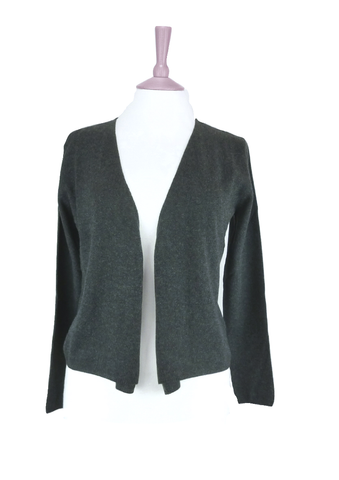 Women's Open Draped Cashmere Cardigan in Charcoal