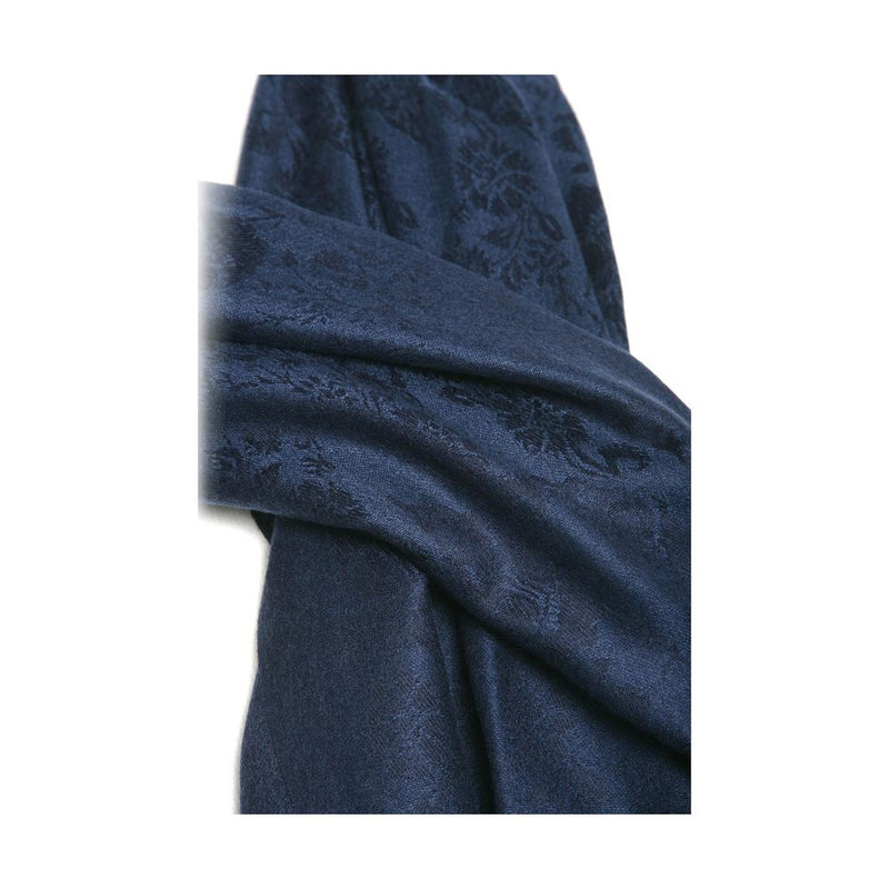 Pashmina Shawl With Floral Pattern Mariner Blue