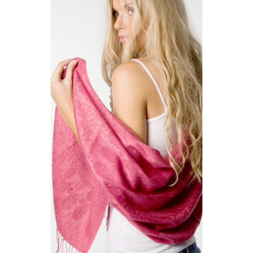 Pashmina Shawl With Floral Pattern Pink
