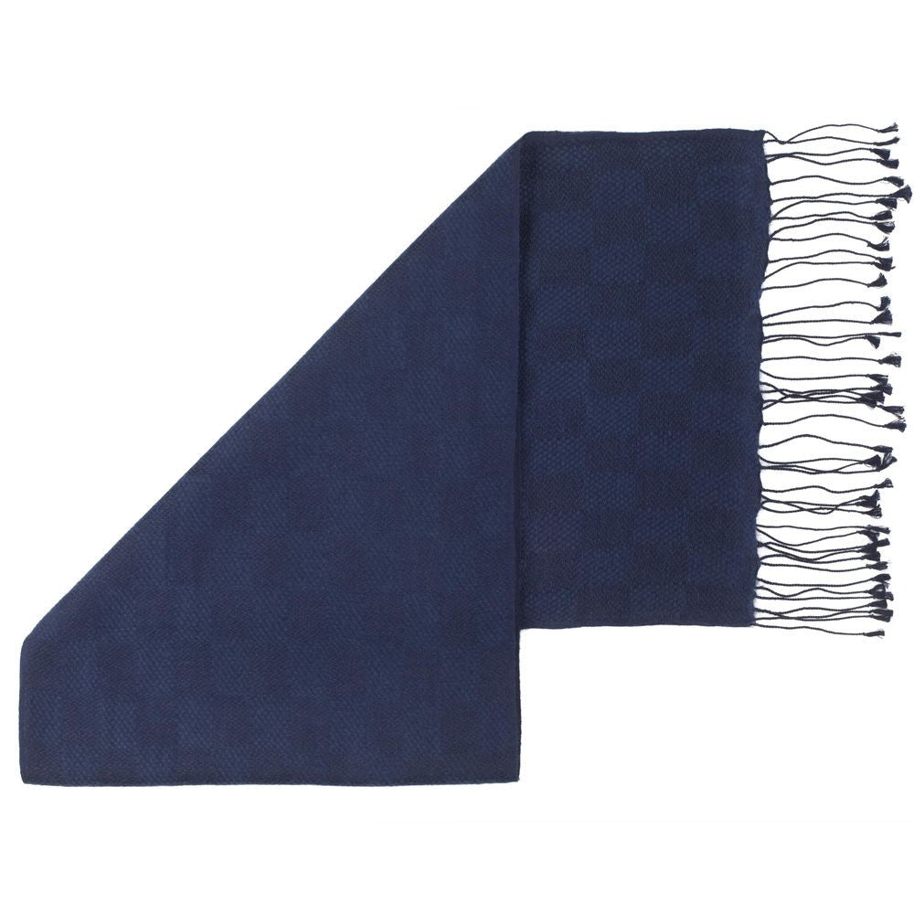 Pashmina Scarves with Checkered Patterning Mariner Blue