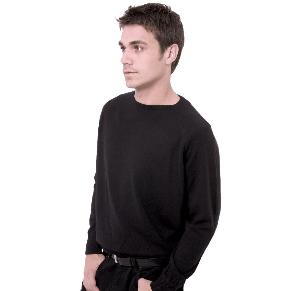 men's crew neck cashmere sweaters black
