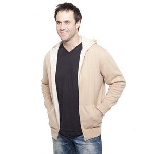 men's reversible cashmere hoodies soft sand and camel