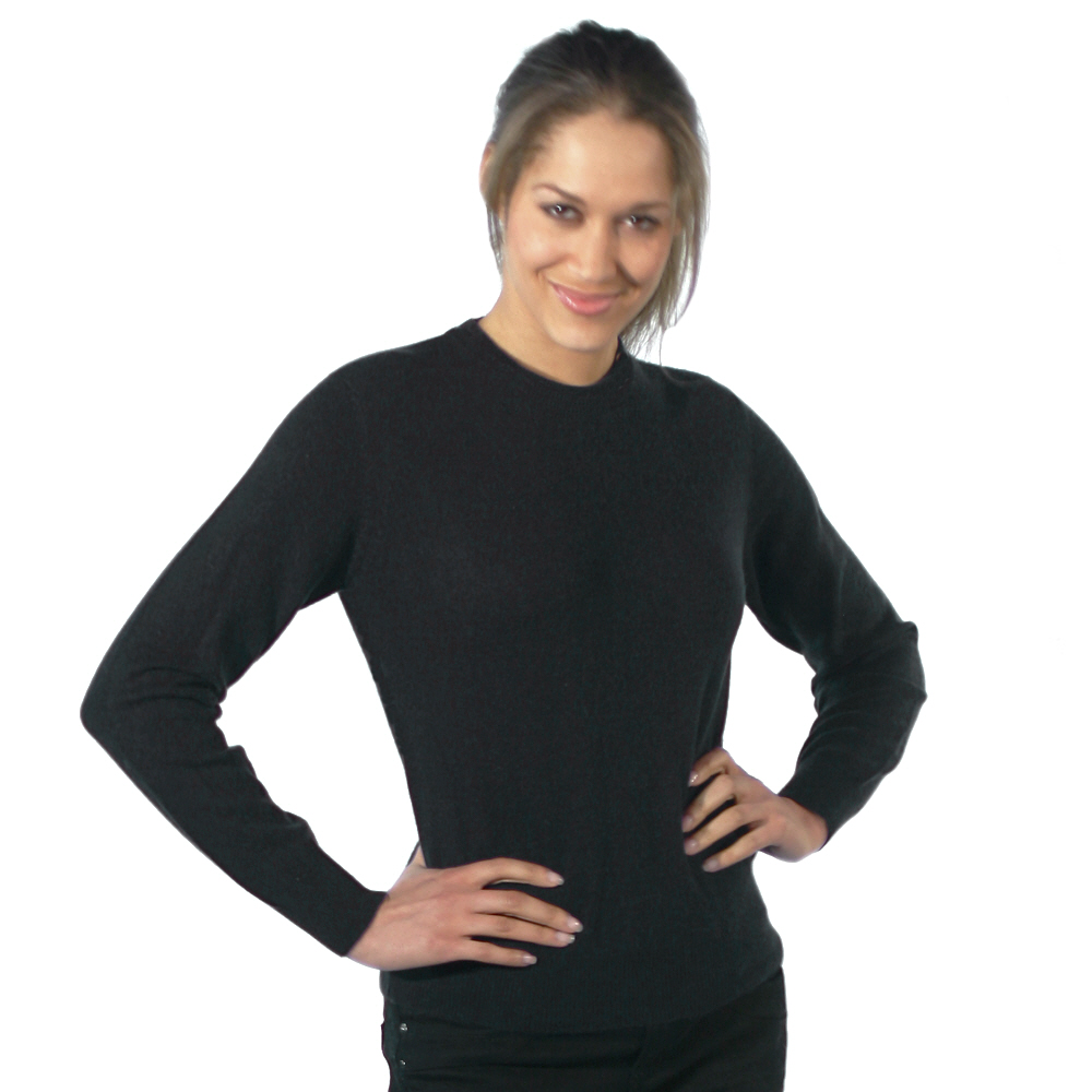 Ladies crew neck cashmere jumper black
