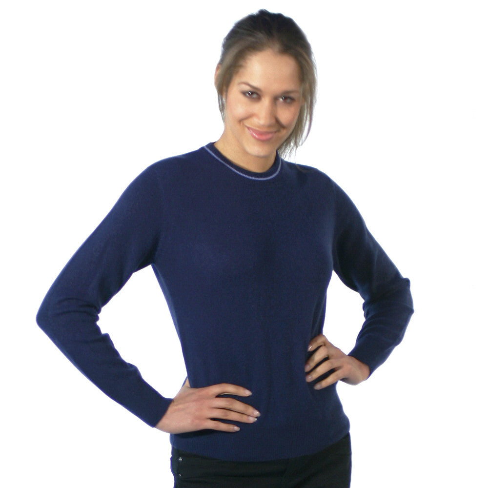 Women's Crew Neck Cashmere Jumpers Mariner Blue