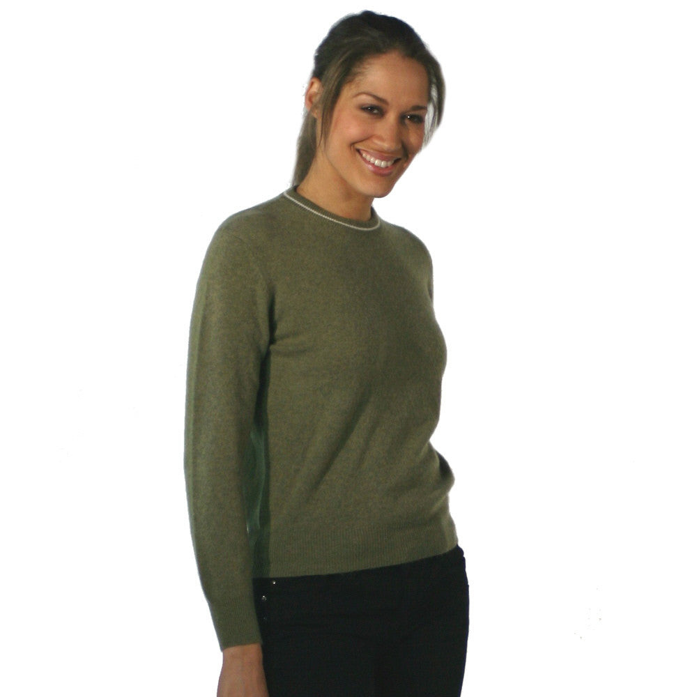 Women's Crew Neck Cashmere Jumpers Olive