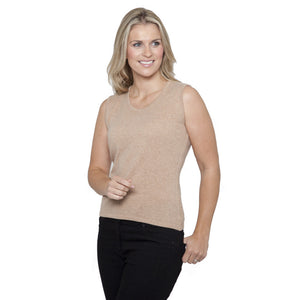 womens round neck vest top vicuna