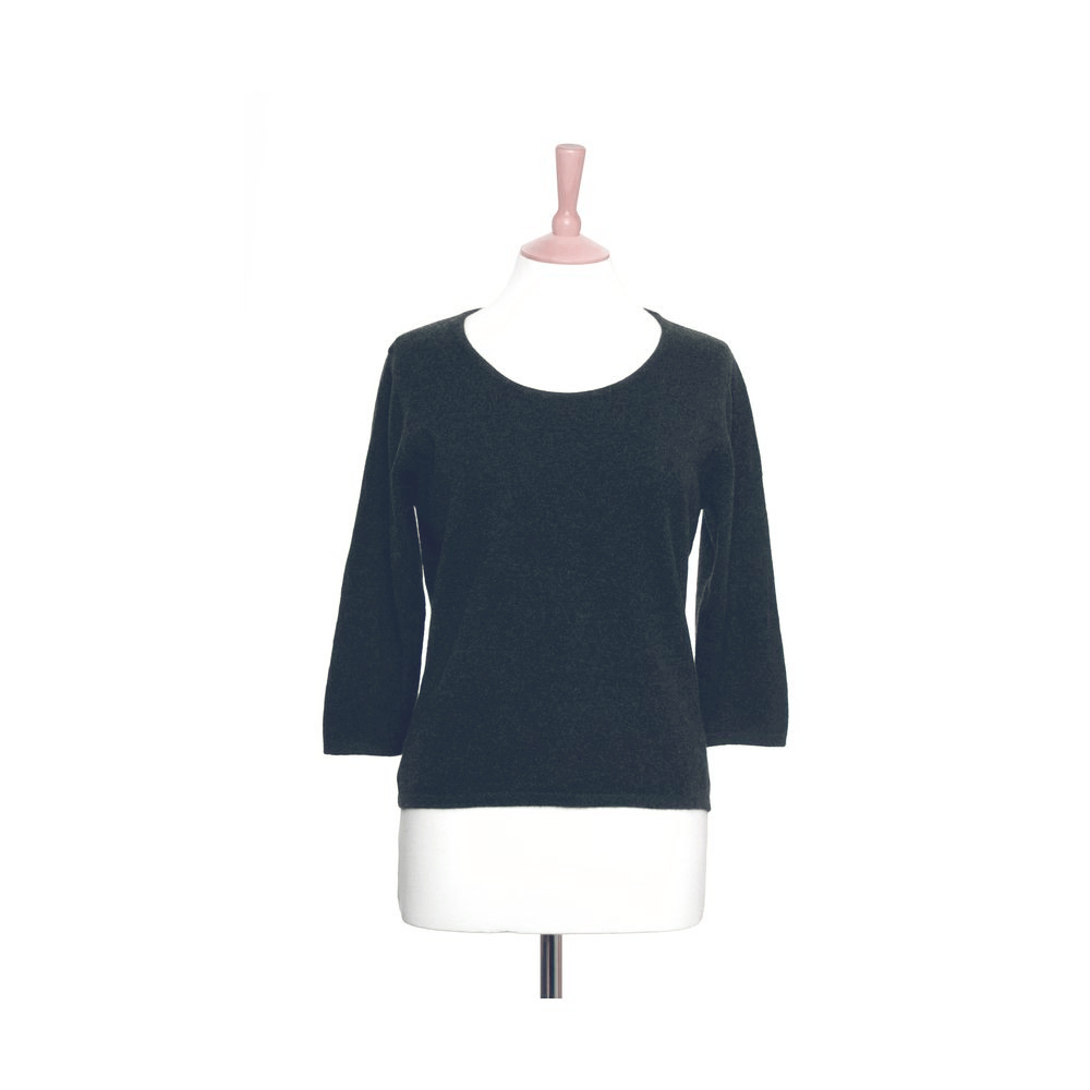 Ruched Neck Cashmere Jumper Charcoal