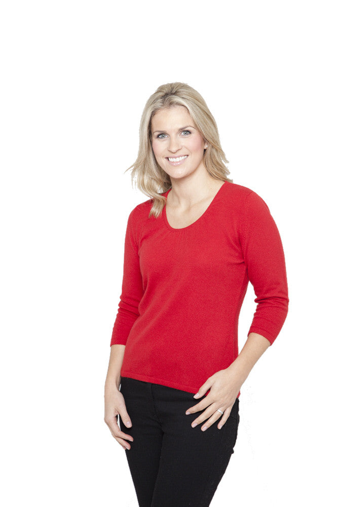 ruched neck cashmere jumper in red admiral
