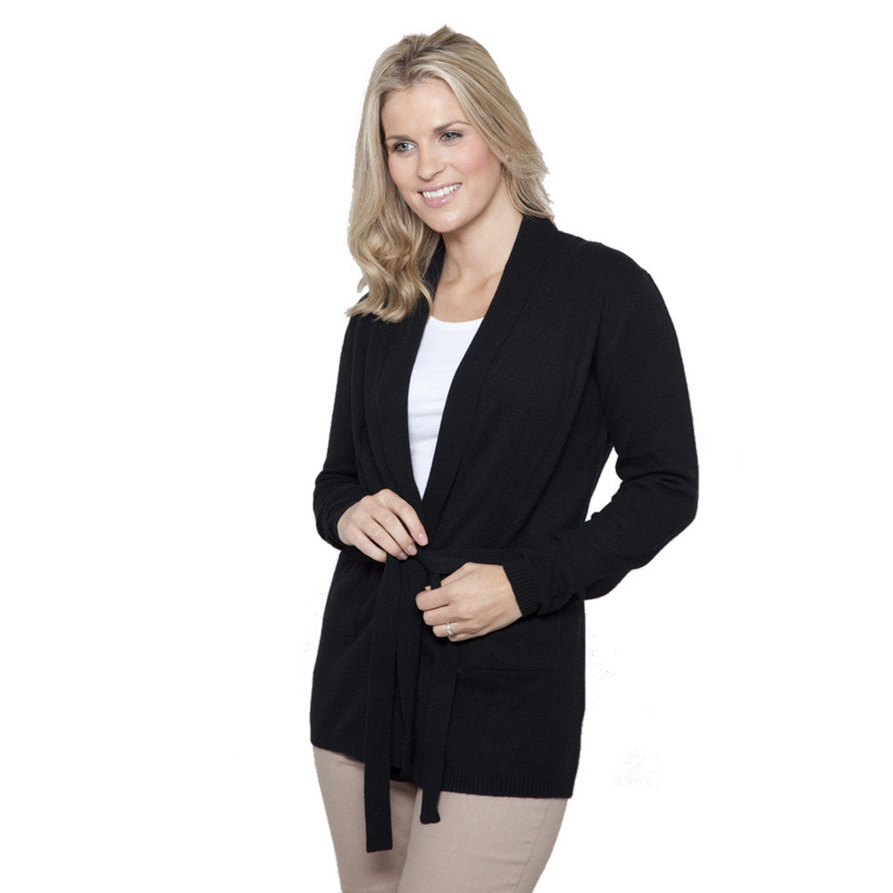 Shawl Collar Cashmere Cardigan Black