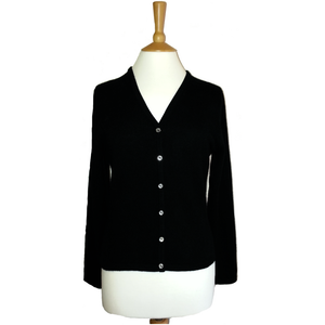 ladies v neck cashmere cardigan black