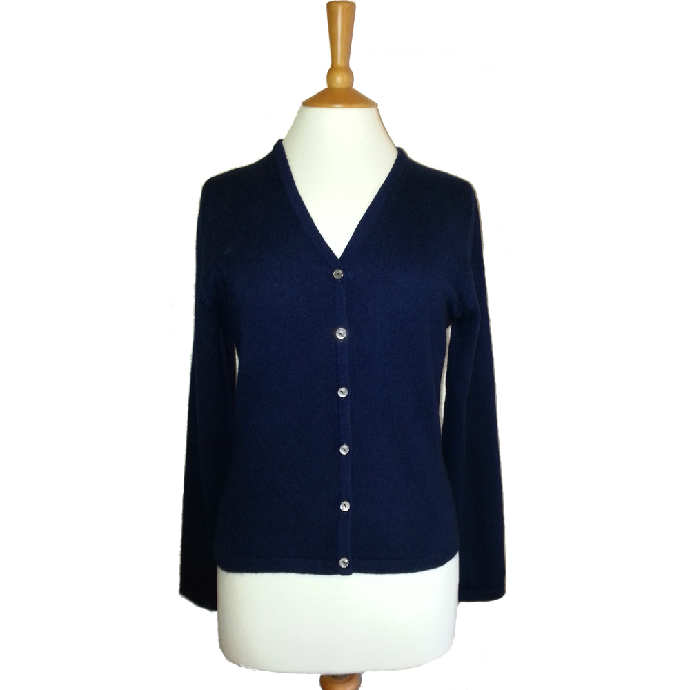 ladies v neck cashmere cardigan mariner blue