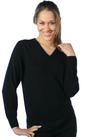 Black V Neck Cashmere Jumper