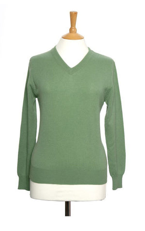 Green V Neck Cashmere Jumper