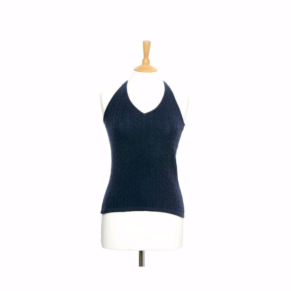 Cashmere Halter Neck Top Mariner Blue