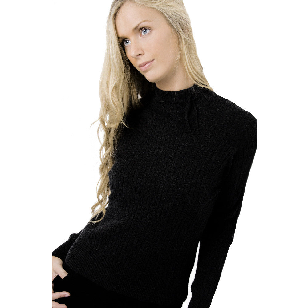 Mock Turtleneck Cashmere Jumper Black