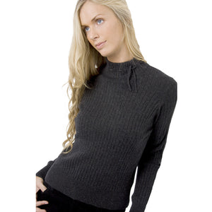 Mock Turtleneck Cashmere Jumper Charcoal