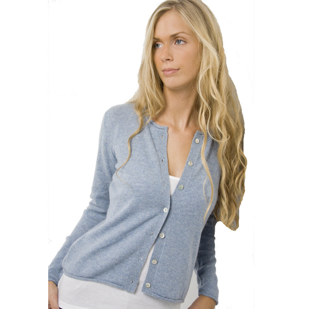 women's cashmere cardigans chambray