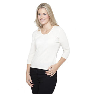 cashmere jumper with ruched neck white