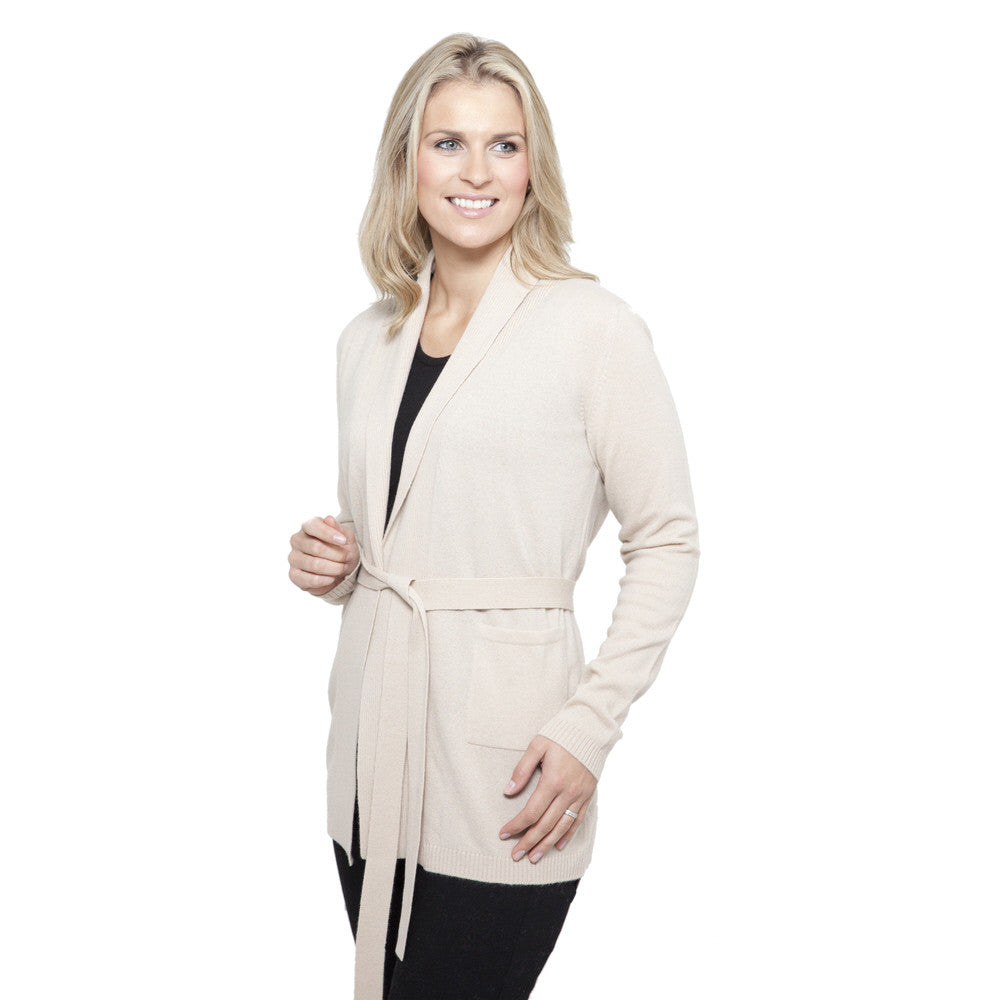 Shawl Collar Cashmere Cardigan Soft Sand