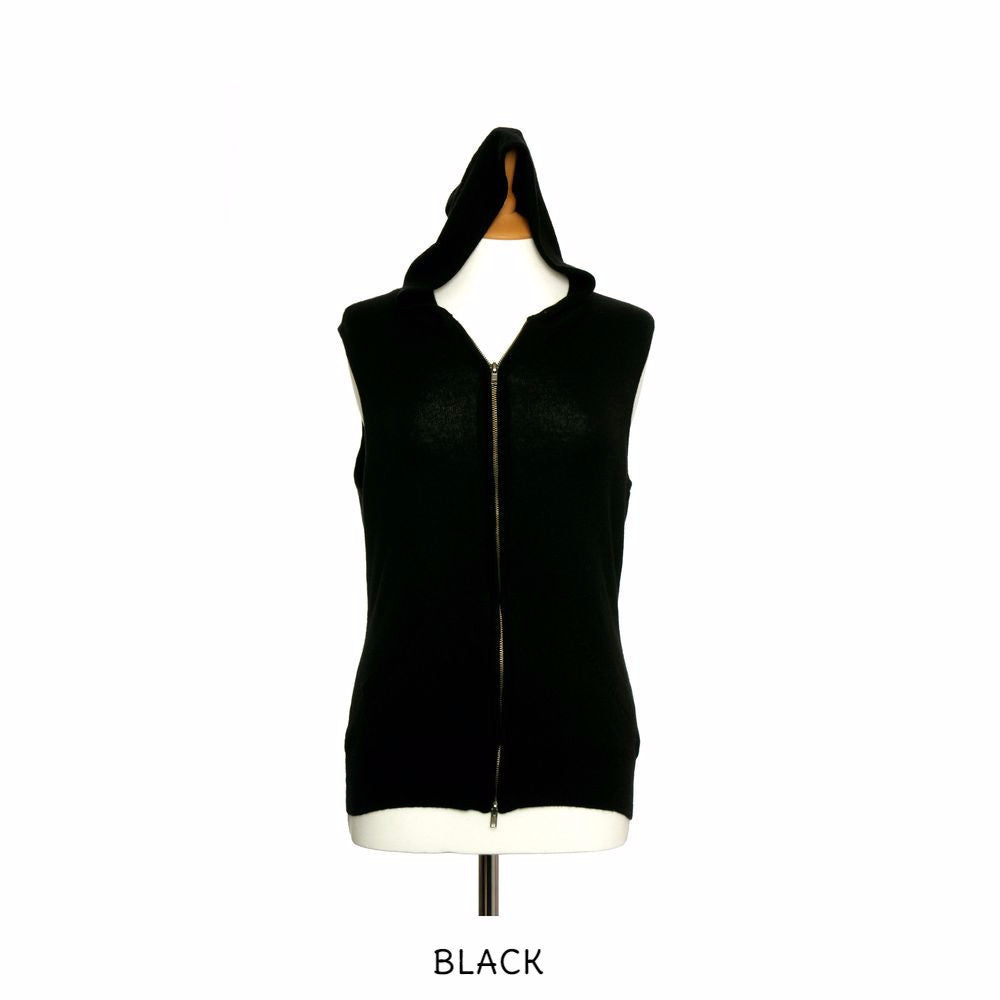 Sleeveless Cashmere Hoodies Black