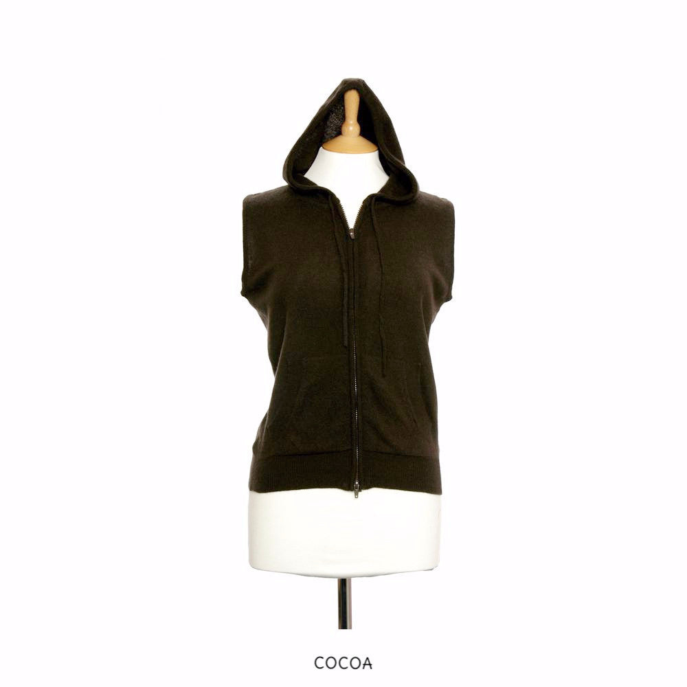 Sleeveless Cashmere Hoodies Cocoa