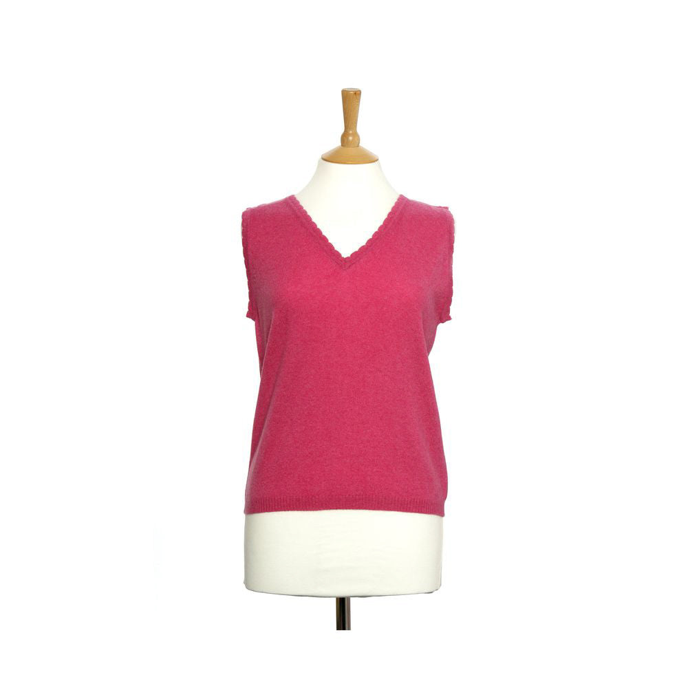 women's v neck vest top pink